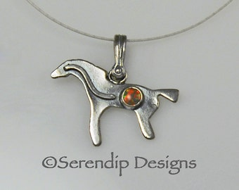 Sterling Silver Pictograph Horse Pendant with Opal, Shiny Silver Horse Necklace, Opal Horse Necklace, October Birthstone Horse