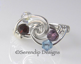 Grandmothers Ring, Mothers Ring Four Birthstones, Argentium Sterling Silver and 4 Swarovski Birthstone Crystals mr4tw-4