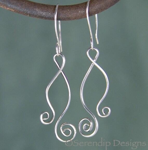 Longer Argentium Silver Double Spiral Wendy Earrings, Double Spiral Sterling Silver Dancing Earrings  SE18