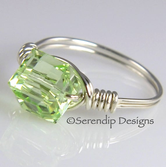 Silver Statement Ring, Swarovski Crystal Cube Ring, Pale Green Argentium Silver Ring