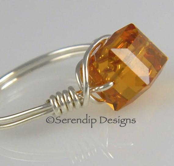 Wire Wrapped Silver Ring, Swarovski Crystal Cube Ring, Topaz Argentium Silver Ring, November Birthstone Statement Ring