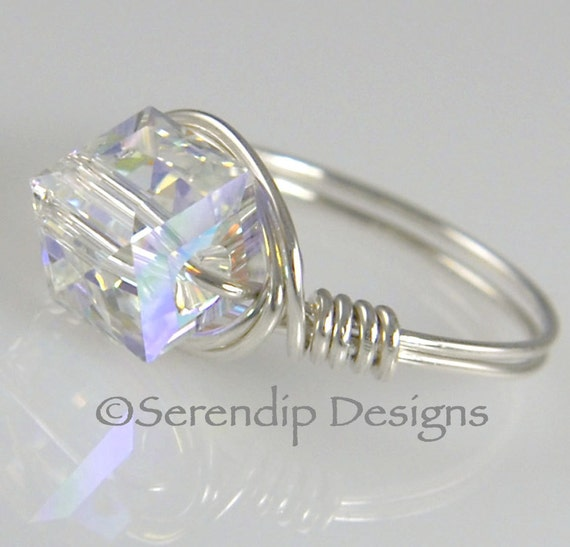 Wire Wrapped Argentium Silver Bling Ring, Clear AB Swarovski Crystal Cube Statement Ring, April Birthstone Ring, Sterling Silver Ring