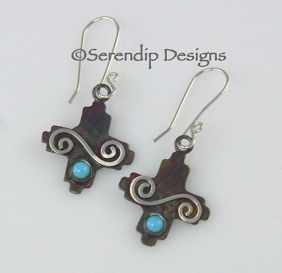 Zia Four Directions Silver Earrings with Turquoise and Silver Spirals, New Mexico Patina Silver Turquoise Cross
