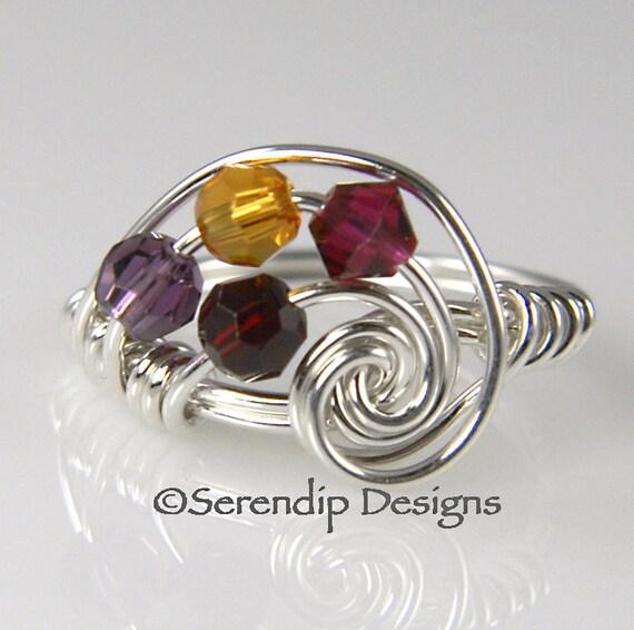 Mothers Ring, Grandmothers Ring, Four Birthstone Galaxy Ring in Argentium Sterling Silver, 4 Swarovski Birthstone Crystals mr4g4-4