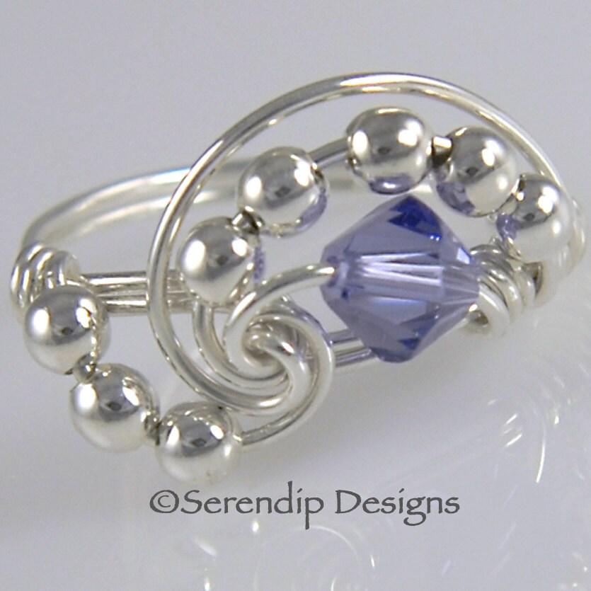 wire wrapped ring sterling silver swarovski tanzanite