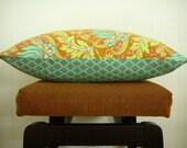 """Pillow Cover Multi Colored Floral Moroccan Tile Aqua Citrine Orange 16"""" x 20"""""""