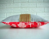 Throw Pillow Cover Decorative Lumbar - Ticking - Persimmon Red Cream Coral - Amy Butler - Jute Webbing - Farmhouse - Cottage Chic