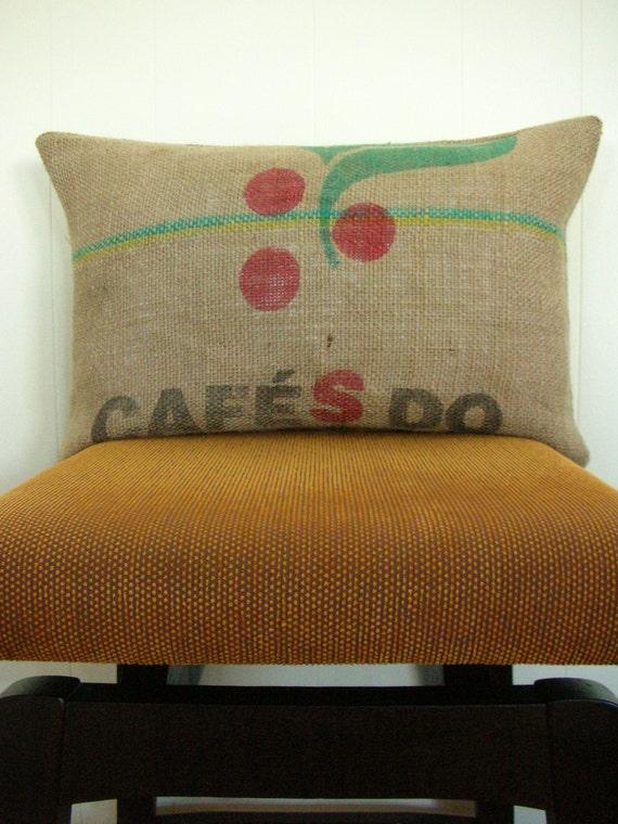 """Repurposed Burlap Coffee Bag Pillow Cover, Brazil, 12"""" x 20"""""""
