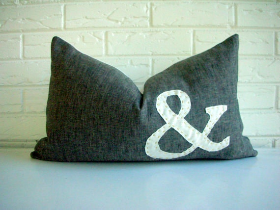 "Decorative Pillow Cover Lumbar - Appliqued Ampersand - Typography Letter - Monogram - Black Ivory Slub Linen - Vintage Modern 12"" x 20"""