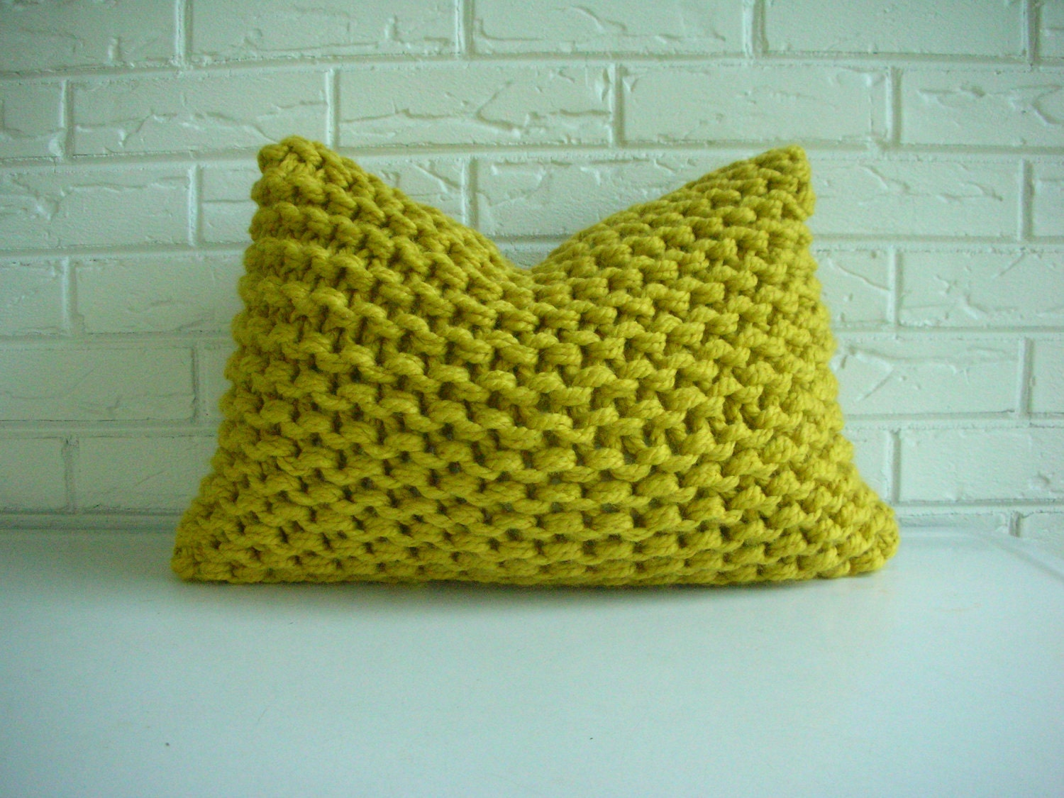 Knit Throw Pillow Cover Pattern : Hand Knit Pillow Cover Decorative Throw Accent Lumbar Chunky