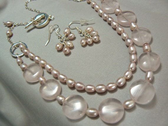 RESERVED- Pearl  & Rose Quartz Multi Strand Necklace Set
