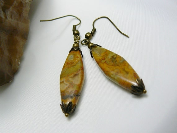 Agate Stone Earrings of Crazy Lace Agate