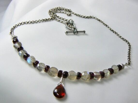 Labradorite Necklace, Garnet Necklace, Gemstone Necklace