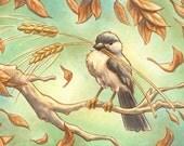 Autumn Chickadee ACEO - Original Painting