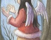 Winter's Last Snowflake ACEO - Original Painting