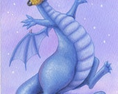 Cool Dragon Catching Snowflakes - Original Illustration