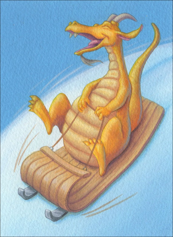 Cool Dragon Sledding - Original Illustration