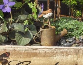 Fairy Garden Watering Can with Bird Olld antiqued watering can with bird Miniature accessories