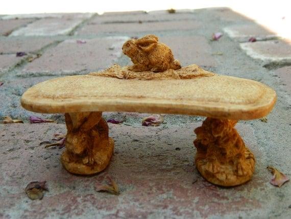 Fairy Garden Miniature Bunny Bench for Garden Terrarium tabletop garden Bunny Lover dollhouse