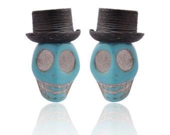 Blue Skull Silver earrings
