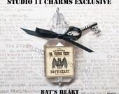 2 pcs. Bat's Heart Potion Potion Drink Me Bottle Pendant Charm, Clear, Steampunk Gothic Spells. WP2