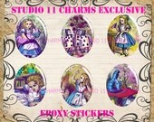 LOW DOME 30x40mm Kawaii Lolita Colorful Alice in Wonderland. Cameo Cabochon Pendant Charm. AC25-30