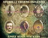 6 pcs. 30x40mm Edgar Allen Poe Raven Crow Skull Gothic Cameo Cabochons Epoxy Resin Stickers. POE.7-12