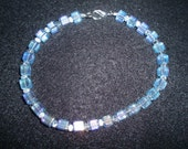 Blue Czech square beaded bracelet