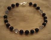 Luster Blue Beads with Swarovski Crystals Bracelet