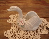 Small vintage light pink and white swan