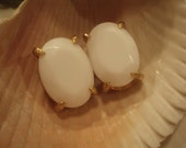 Vintage White Faceted Clip Earrings