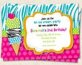 Ice Cream Birthday Party Invitations , Ice Cream Party , Ice Cream Invitations