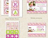 DIY Printable Birthday Party Package - Owl Party Pack