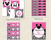 Mouse inspired with Zebra print  DIY Printable Birthday Party Package Party Pack
