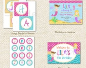 Mermaid DIY Printable Personalized Birthday Party Pack Party Package