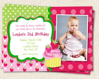 Strawberry Birthday Invitations