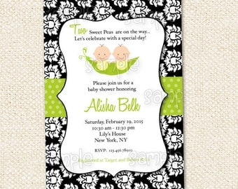 Two Peas in a Pod Baby Shower Invitation