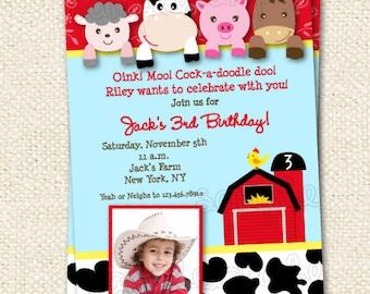 Barnyard  Birthday Invitations , Farm , Animals , Birthday Invites