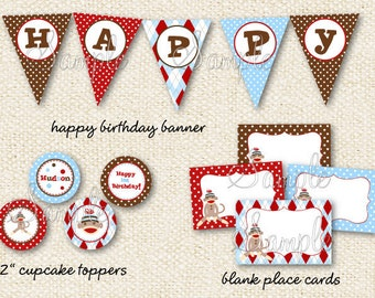 Sock Monkey - DIY Printable Personalized Birthday Party Package Party Pack