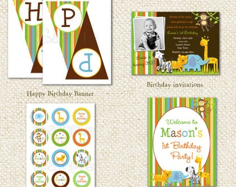 Jungle Zoo Safari DIY Printable Personalized Birthday Party Pack Party Package