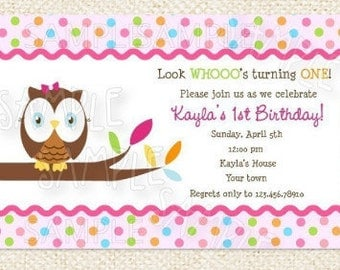 Owl look whoo's turning 1 birthday party Invitations