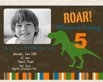 Dinosaur T-rex Birthday  Invitations