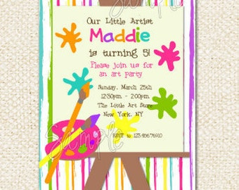 Art Party Birthday Invitations