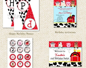 Barnyard Farm Invitations  - DIY Printable Personalized Birthday Party Package Party Pack