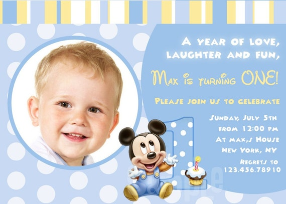 Baby Mickey Mouse First Birthday 1st Printable Custom Photo – Baby Mickey 1st Birthday Invitations