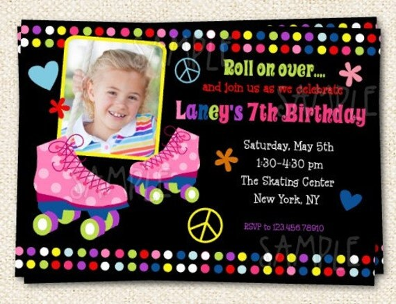 roller skate birthday invitations by lollipopprints on etsy, Birthday invitations