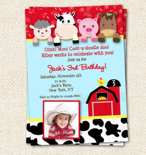 barnyard birthday invitations farm animals birthday, Birthday invitations