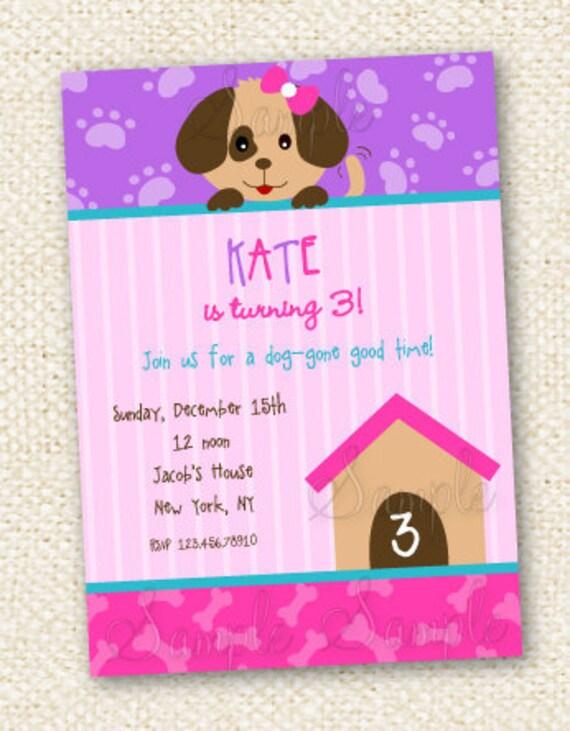 Puppy Dog Birthday Invitations