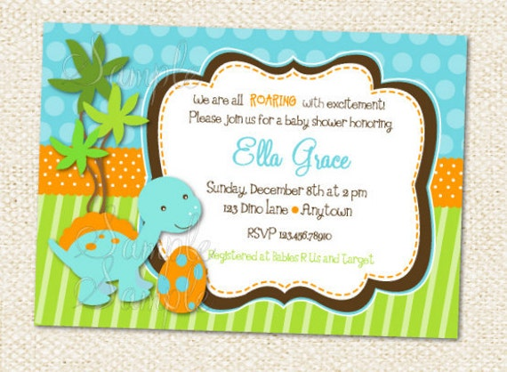 Bewitching image intended for free printable dinosaur baby shower invitations