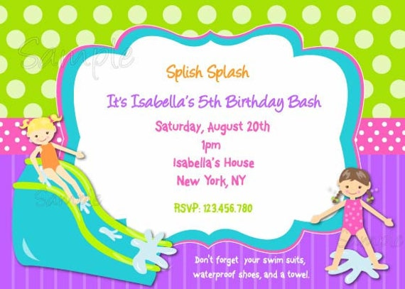 Items similar to Waterslide Birthday Party Invitation on Etsy – Water Slide Party Invitations
